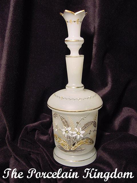 Bristol glass perfume bottle with gold flowers and crown cut top