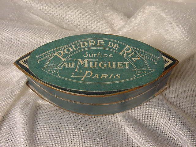 French Art Deco face powder box Poudre De Riz Au Muguet Paris