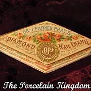 Victorian Diamond Nail Enamel 1890's powder box  Dr. J. Parker Pray's mint vintage