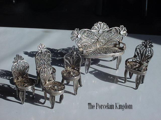 Silver filigree miniature doll house furniture settee and chairs