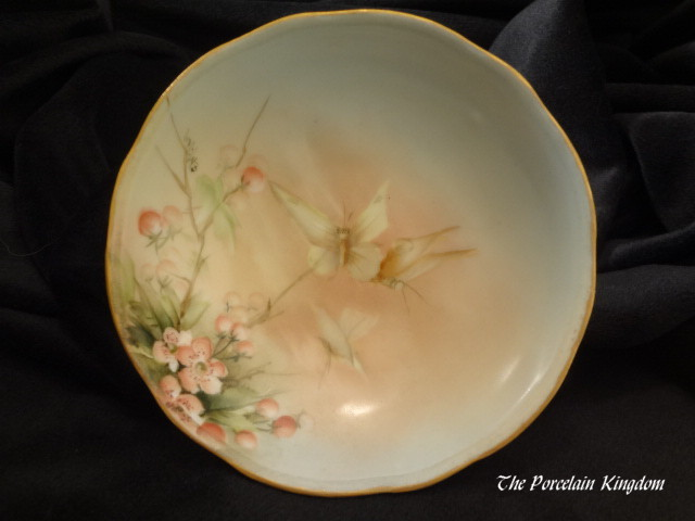 Very rare Esther Miler signed berry bowl butterflies cherries and cherry blossoms