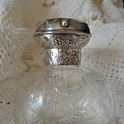 William Comyns sterling silver and cut glass birds in flight with flowers silver mounted scent bottle London perfume 1891