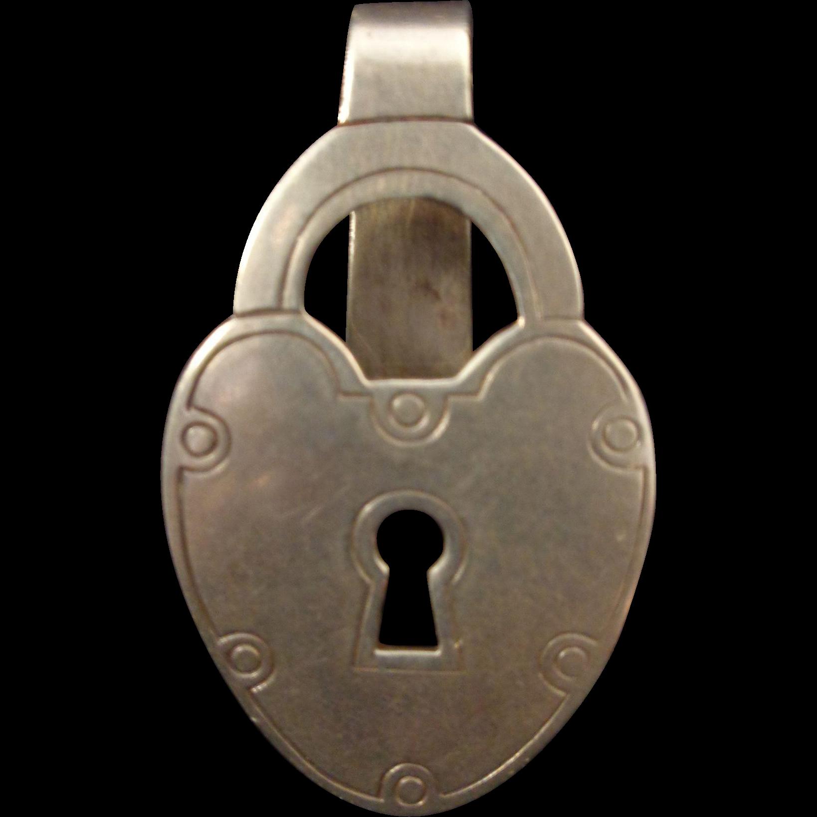 Sterling silver napkin hanky clip figural lock R. Blackington Company
