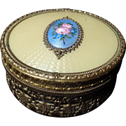 Gilt Ormolu Caged Glass and Guilloche Enamel Footed Dresser Powder Box