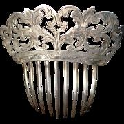 Silver Art Nouveau Engraved Floral Hair Comb