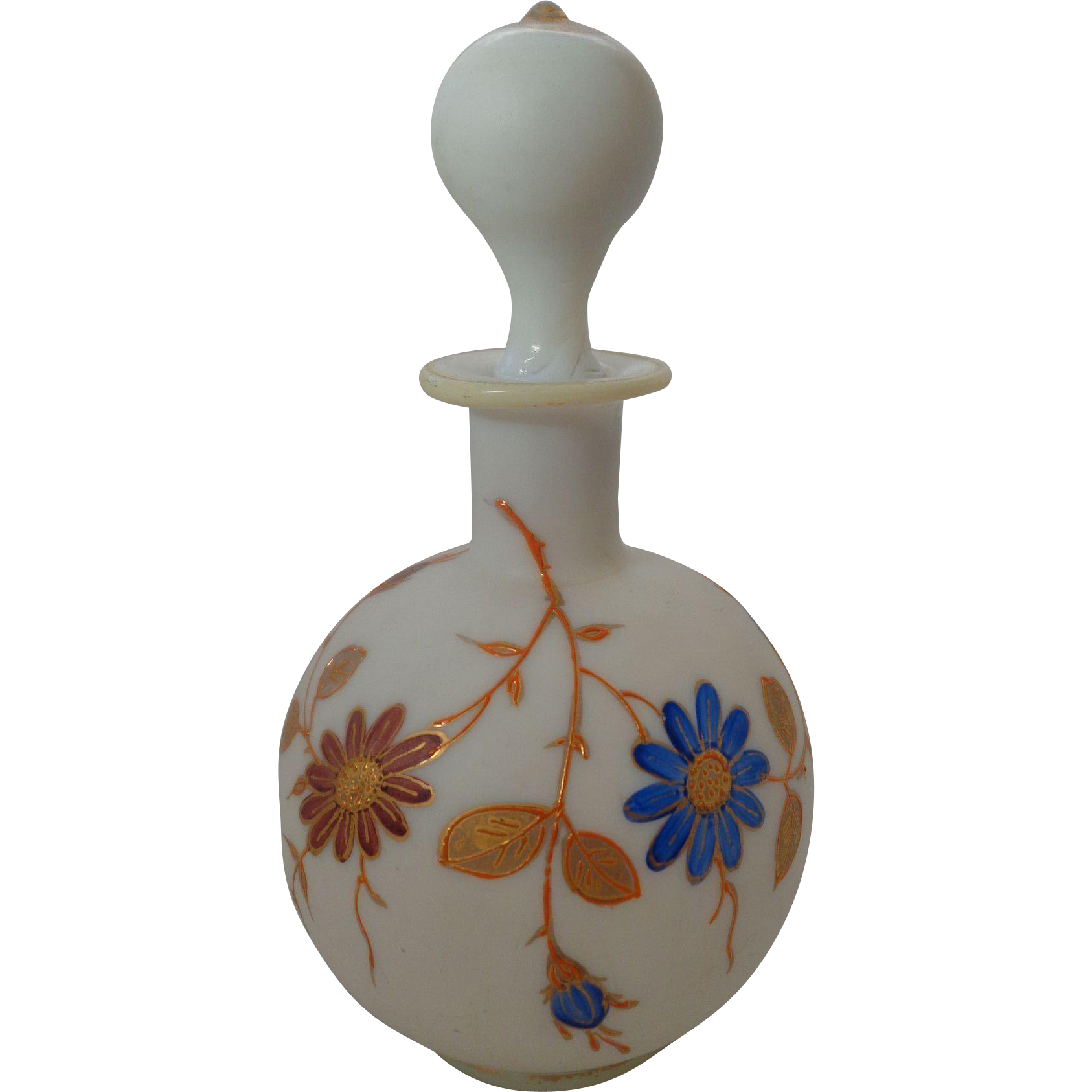 Opaque Glass Perfume with Hand Painted Flowers