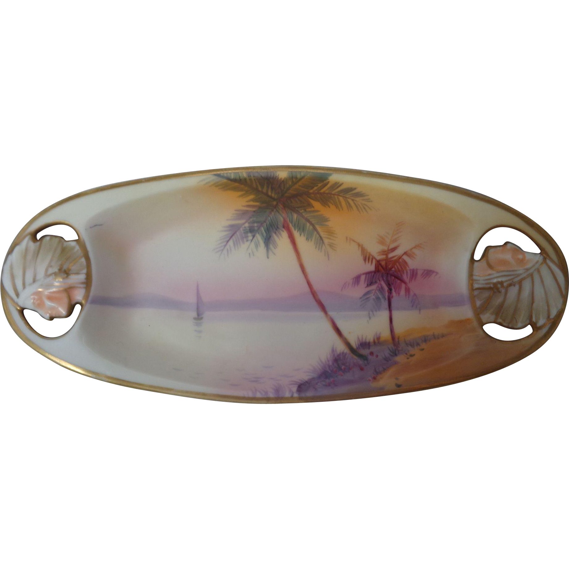 Nippon Cutout Indian Sailboat Scene Hand Painted Tray