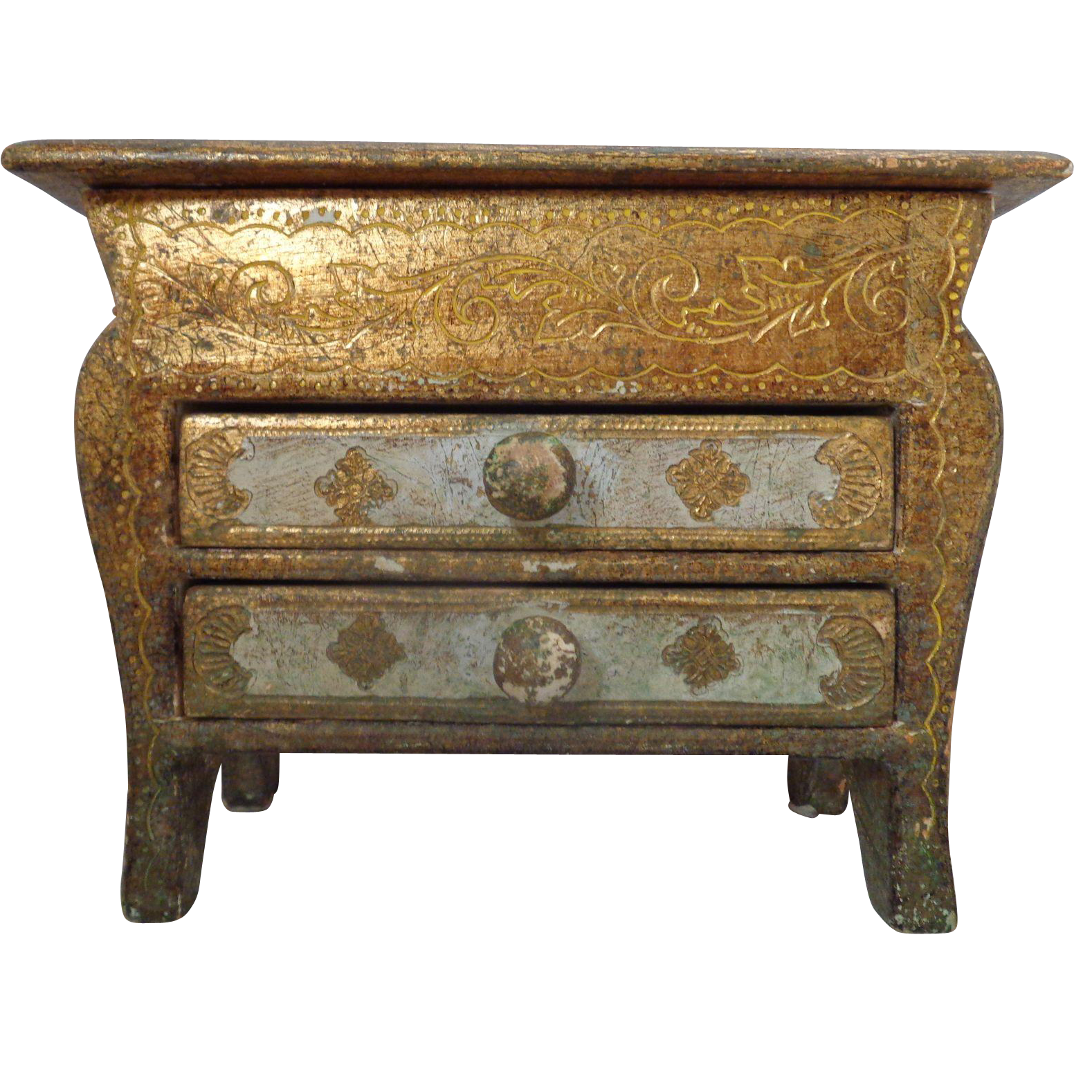 Italian Gold Florentine Miniature Bombay Chest Hand Painted Footed From Thepo
