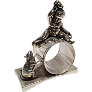 Figural Napkin Ring, Kate Greenaway Girls on a Ladder
