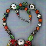 Tibetan Beads Conch Shell Apple Coral : Ancient Trade Route