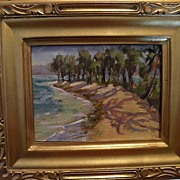 Jan Bushart Hawaii-oo/b Beach Scene with Iron Trees