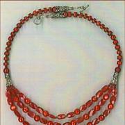Tibetan beads Red coral : Kasmiri Kiss