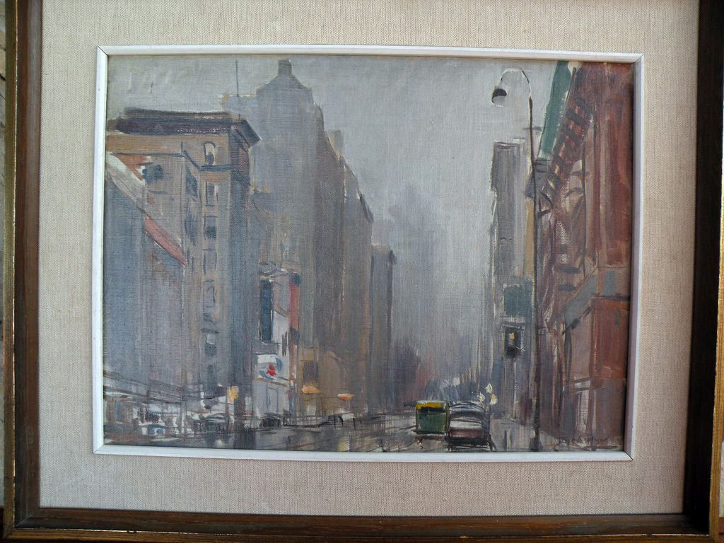 "Lexington Ave, New York City, oo/b By Tore Asplund ""Salmagundi Club Exhibition Label"""