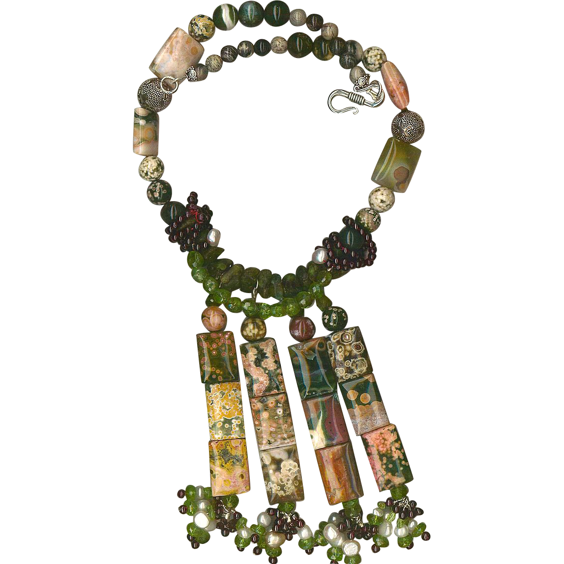 Bull's Eye Ocean Jasper beads Peridot Red Garnet beads : Ocean Garden (with Cultured Pearls)