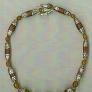 Tibetan Copal Amber beads & Silver Caps  : Ancient Amber