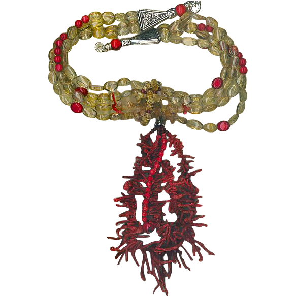 Red Coral & Citrine beads & Coral Frangia : Oklahoma Necktie