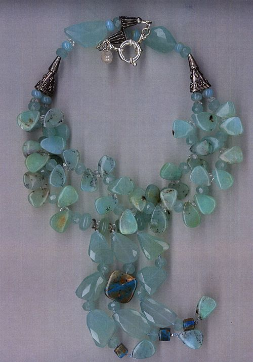 Peruvian Opal beads & Chalcedony beads Swaroski crystals : Opalicious