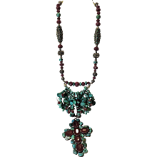 """Turquoise and Faceted Genuine Ruby Necklace: """"Crown of Thorns"""""""