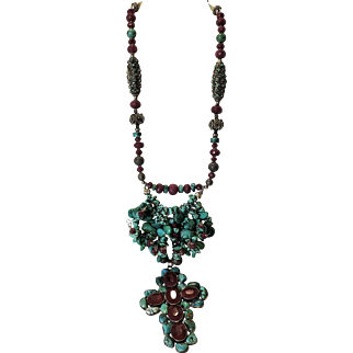 "Turquoise and Faceted Genuine Ruby Necklace: ""Crown of Thorns"""