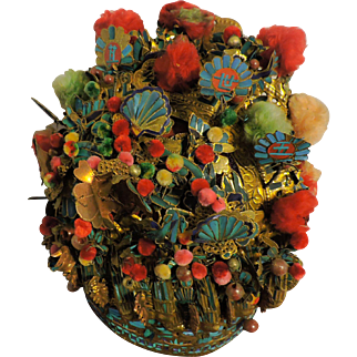 Chinese Kingfisher Ornate Headdress, Late 19th C with Original Box