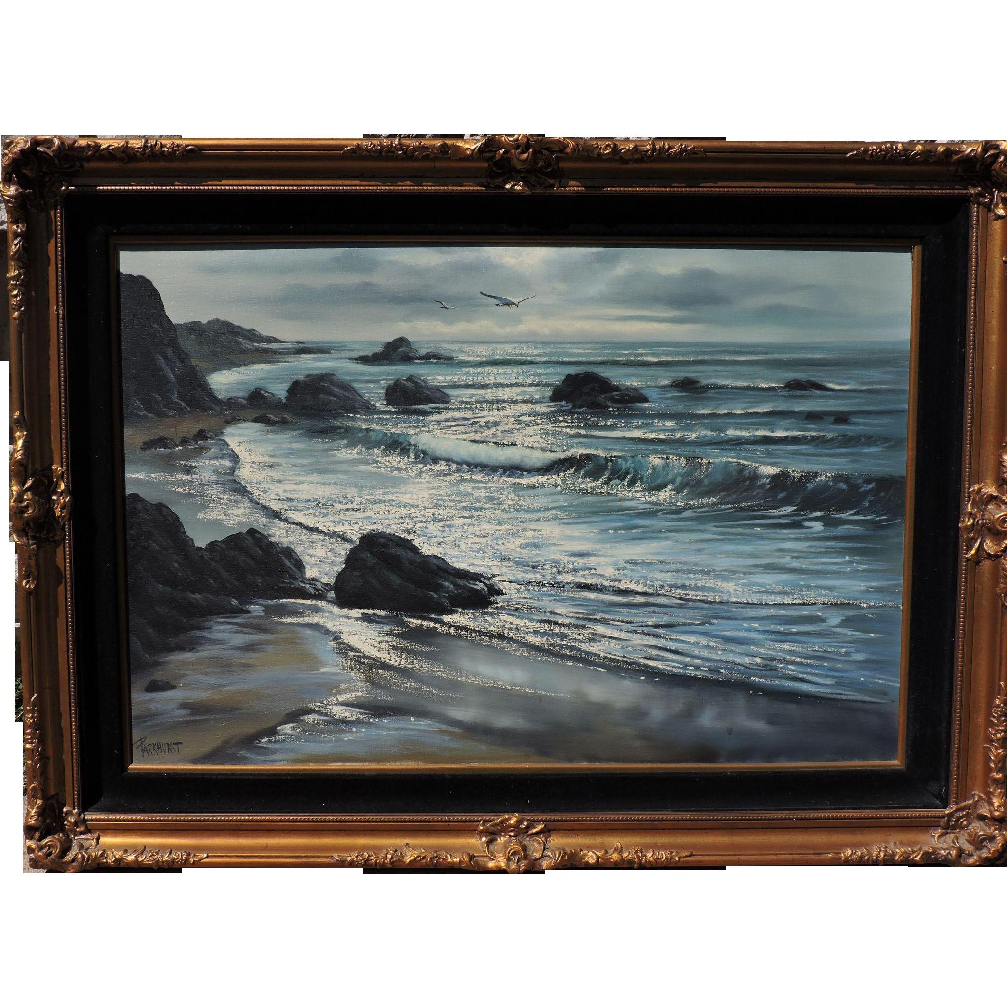 """Violet Parkhurst seascape titled """"Pacific Sparkle"""", 24""""x36"""" original oil on canvas"""