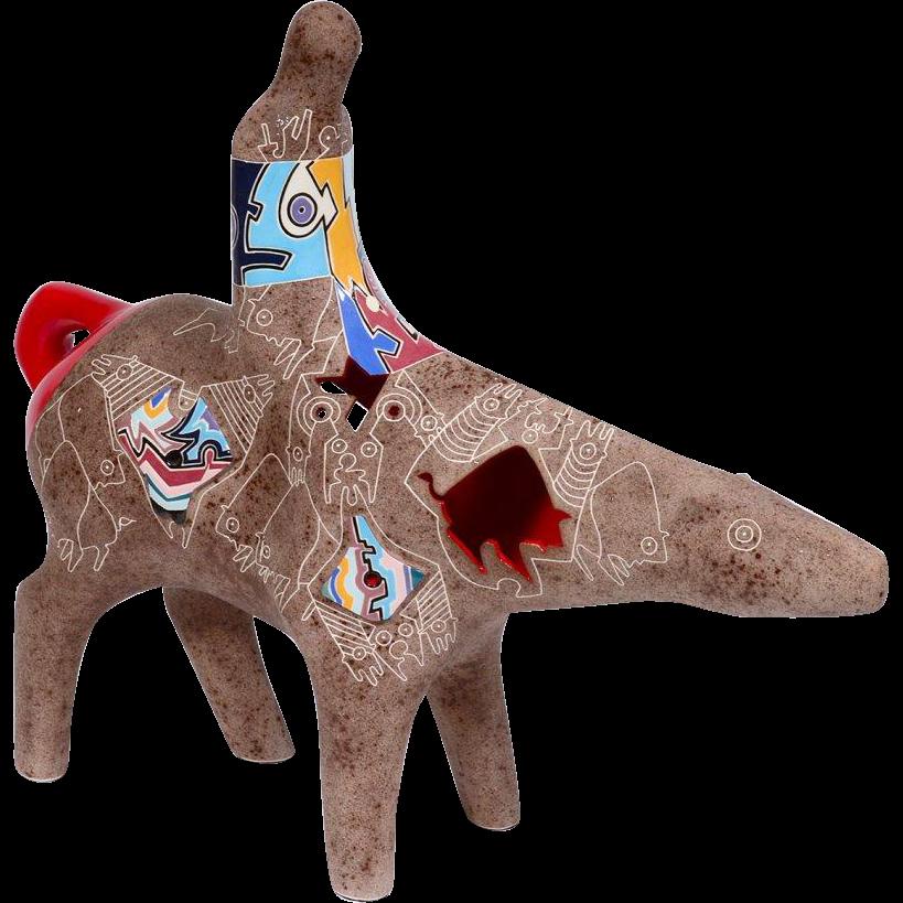 """Gene and Rebecca Tobey ceramic figure of a Native American riding a Spirit Bear"""""""
