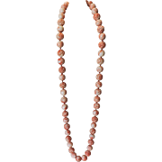 """Angel Skin Coral Carved 29"""" Beaded Necklace with Shou and Crouching Dragons"""