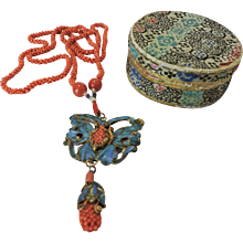 Antique Mandarin Court Chinese Kingfisher Pendant on Salmon-Red Coral Necklace
