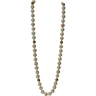 "Opera Length 28"" Large Angel Skin Coral Necklace with 14 KT Gold Spacers"