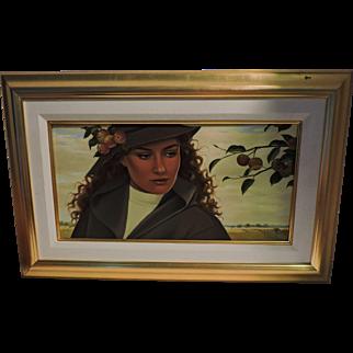 """GINETTE BEAULIEU oil on canvas painting titled """"Le Retour des Petites Pommes"""""""