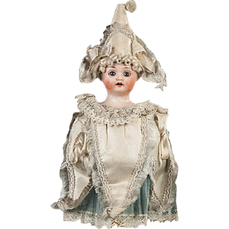 Antique German Marotte Party Doll with a Bisque Head, possibly Simon & Halbig