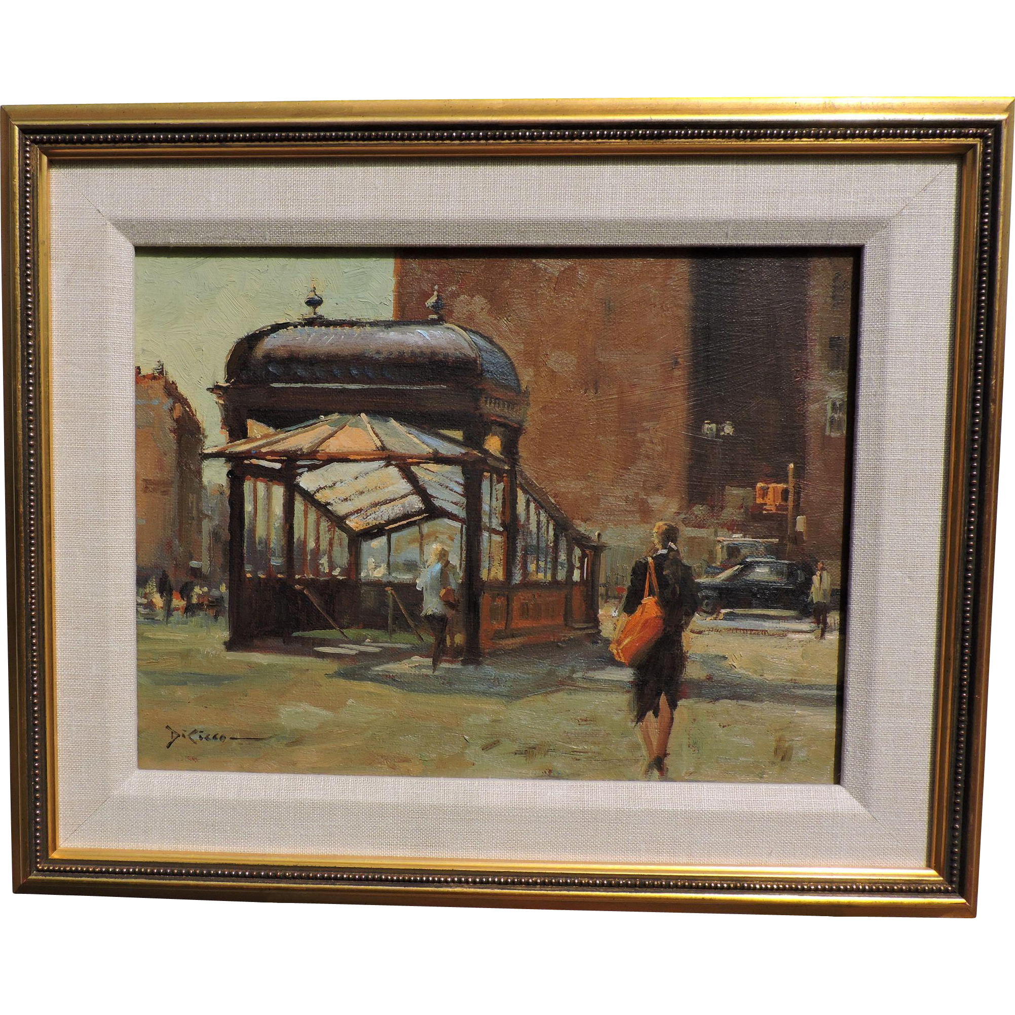 Gil DiCicco oil on canvas painting of activity at a subway entrance in 1950's New York's Astor Place