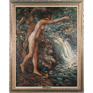 """Huge and magnificent oil painting by LILLIAN GENTH titled """"Two Nudes"""""""