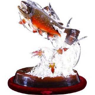 """Powell SWANSER woodcarving of a Brook Trout, titled """"Hell Bent For Freedom"""""""