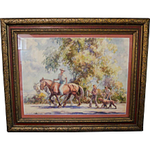 Artist Alphonse Palumbo watercolor scene with horses, a father, two sons and a dog