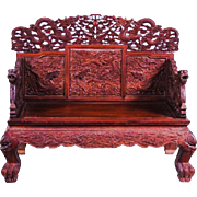 Huanghuali Wood Chinese Emperor's Throne Chair, late Qing (1849-1911)