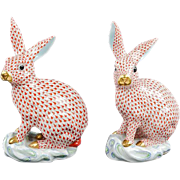 One HEREND Rabbit – 11¾ tall LARGE and very scarce in the Orange Fishnet Pattern
