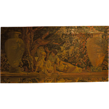 Donald MATTISON mural-type oil on canvas of three muses in the Garden of Allah
