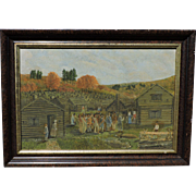"Important Minnesota artist MICHAEL LENK oil on panel ""The First Thanksgiving"""