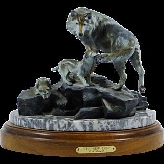 """Carole DANYLUK """"The New Den"""" Bronze Wolf Sculpture, 1994 Artist Proof"""