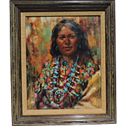 ARLENE HOOKER FAY (1937-2001) oil on canvas of a stunning Native American woman