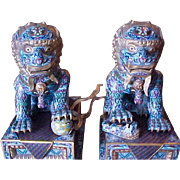 Pair of Monumental Vintage Chinese Cloisonne Buddhistic Foo Lions