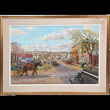 Sven Ohrvel Carlson oil on canvas of a busy New England Main Street scene