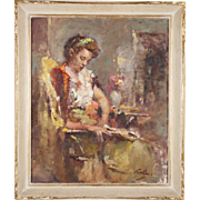 ARNOLD TURTLE oil on canvas painting of an elegant young lady (Creole?)