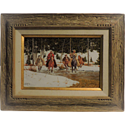 RON STEWART oil on board, action-packed western scene of two trappers, signed.