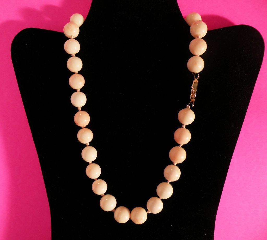 (SOLD) Huge Fabulous White Angel Skin Coral Necklace 14 mm 14 Kt.