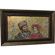 EDNA HIBEL original Gold Leaf Painting On Board of a young Renaissance Couple