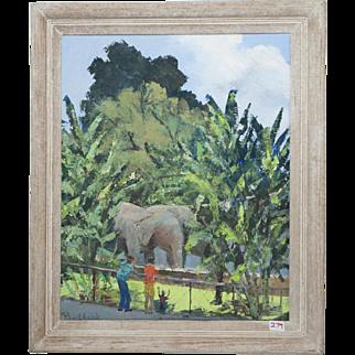 "PAUAHI CLARK Hawaiian oil on canvas, Honolulu Zoo ""See the Elephants"""