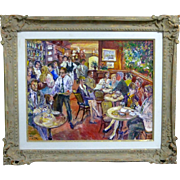 Valery Tsarikovsky (VAL TSAR) superb action-packed café scene oil on canvas, originally $8,000
