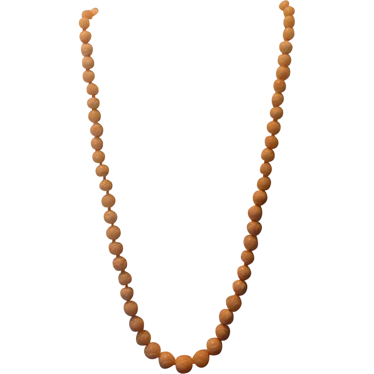 """Chinese Vintage Carved Angel Skin Coral 18 """" Bead Necklace  (5.22 mm- 8.86 mm 21 grams)"""